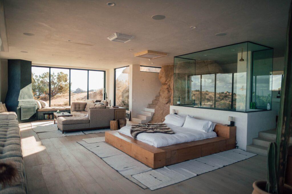 trend, yatak odası dekorasyonu, cam duvar