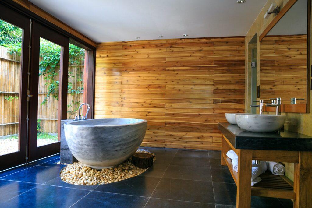 Banyo Dekorasyon Örnekleri, spa banyo, ahşap banyo, küvet