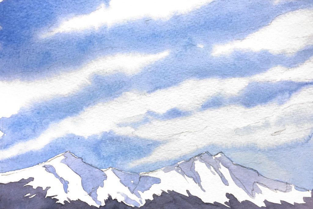 sulu boya bulut ve dağ resmi, Sulu Boya Resmi