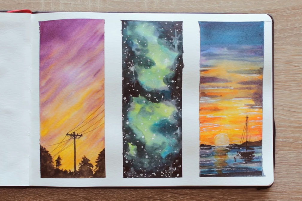 sulu boya arka plan çalışması, Sulu Boya Resmi, sulu boya gökyüzü